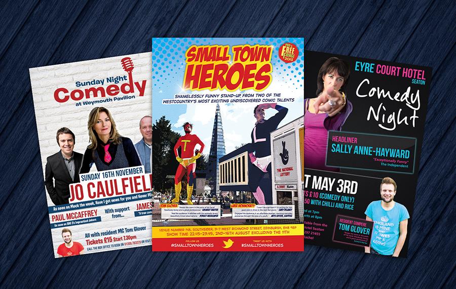 Weymouth Pavilion, Edinburgh Fringe & Eyre Court Hotel event posters