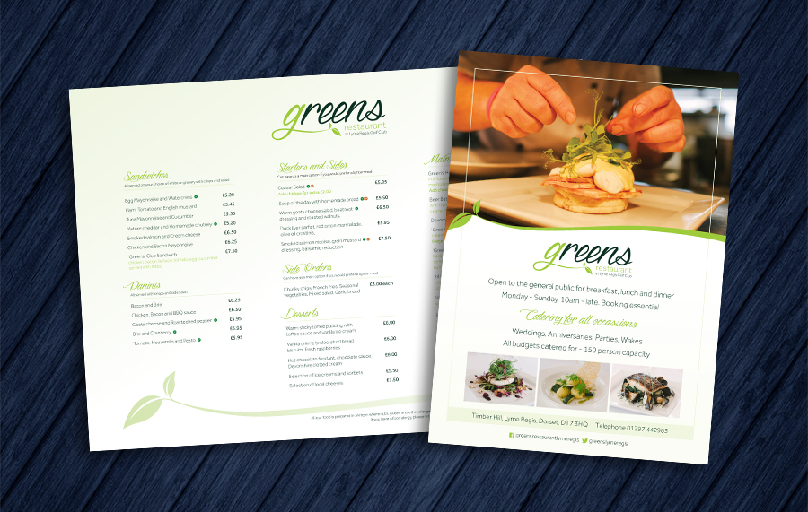 Greens Restaurant Menu & Flyer design
