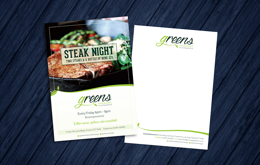 Steak Night promotional flyer and Greens letterhead