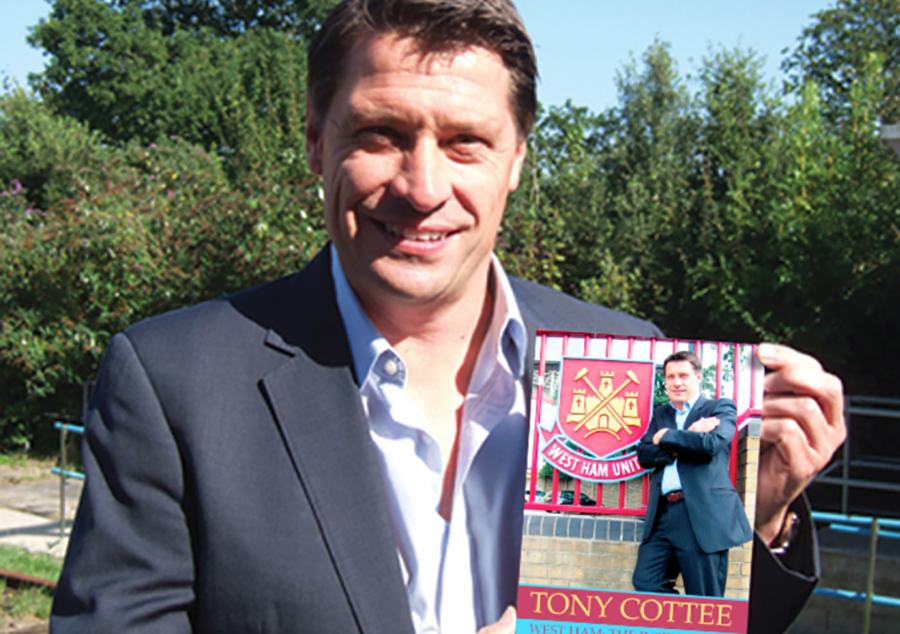 Tony Cottee with his autobiography, 'West Ham: The Inside Story'